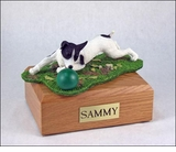 Black White Jack Russell Terrier Dog Figurine Pet Cremation Urn - 1608