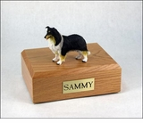 Black White Red Collie Dog Figurine Pet Cremation Urn - 686
