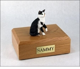 Black White Tabby Cat Figurine Pet Cremation Urn - 629