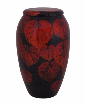 Black with Autumn Leaves Hand Painted Cremation Urn