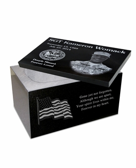 Blemished 12 x 8 x 7 Photo Laser-Engraved Black Granite Cremation Urn