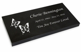 Blemished Reduced Price Grave Marker Black Granite Laser-Engraved Memorial Headstone