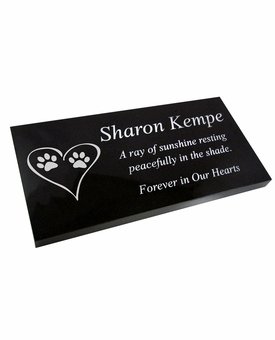 Blemished Reduced Price Pet Grave Marker Black Granite Laser-Engraved Memorial Headstone