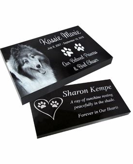Blemished Reduced Price Photo Pet Grave Marker Black Granite Laser-Engraved Memorial Headstone