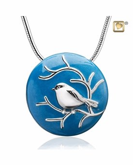 Blessingbirds Blue Enamel Gold Vermeil Sterling Silver Cremation Jewelry Pendant Necklace