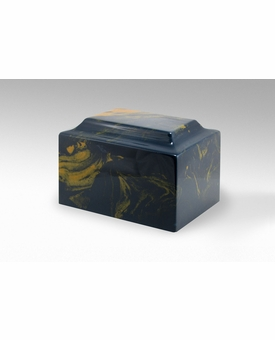 Blue and Gold Classic Cultured Marble Cremation Urn Vault - Engravable