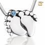 Blue Crystal Baby Feet Rhodium Plated Sterling Silver Cremation Jewelry Pendant Necklace
