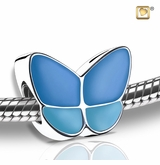 Blue Enamel Wings of Hope Rhodium Plated Sterling Silver Cremation Jewelry Bead
