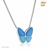 Blue Enamel Wings of Hope Rhodium Plated Sterling Silver Cremation Jewelry Pendant Necklace