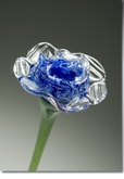 Blue Eternal Bloom Cremains Encased in Glass Cremation Long Stem Rose