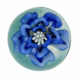 Blue Flower Cremains Encased in Glass Cremation Paperweight