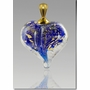 Blue Gold Precious Metal Heart Cremains Encased in Glass Cremation Jewelry Pendant