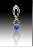 Blue Harmony Cremains Encased in Glass Sterling Silver Cremation Jewelry Pendant
