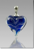 Blue Heart Cremains Encased in Glass Cremation Jewelry Pendant