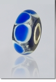 Blue Lasting Memory Bead Cremains Encased in Glass Cremation Jewelry