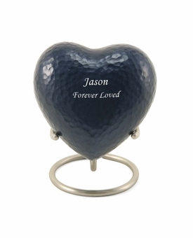 Blue Legacy Metallics Heart Keepsake Cremation Urn