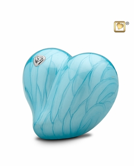 Blue LoveHeart Medium Cremation Urn