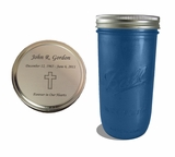 Blue Mason Jar Cremation Urn