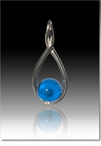 Blue Melody Twist Cremains Encased in Glass Sterling Silver Cremation Jewelry Pendant