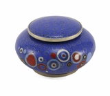 Blue Opulence Cloisonne Copper and Enamel Keepsake Cremation Urn