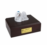 Blue Ribbon Maltese Dog Figurine Pet Cremation Urn - 963