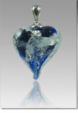 Blue Silver Precious Metal Heart Cremains Encased in Glass Cremation Jewelry Pendant
