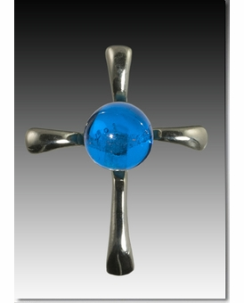 Blue Symphony Cross Cremains Encased in Glass Sterling Silver Cremation Jewelry Pendant