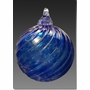 Blue Timeless Sphere Cremains Encased in Glass Cremation Ornament