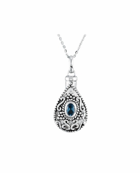 Blue Topaz CZ Birthstone Teardrop Sterling Silver Cremation Jewelry Necklace