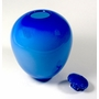 Blue With Marbleized Lid Hand Blown Glass Cremation Urn