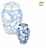 Blue with Silver Blessing Birds Keepsake Cremation Urn