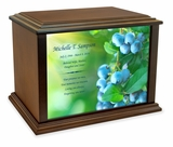 Blueberries Eternal Reflections Wood Cremation Urn - 4 Sizes