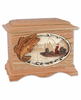 Boat Bass Fishing with 3D Inlay Oak Wood Cremation Urn
