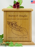Boat Fishermen Engraved Wood Cremation Urn