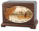 Boat Fishing with 3D Inlay Walnut Wood Hampton Cremation Urn
