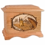 Boat Salmon Fishing with 3D Inlay Oak Wood Cremation Urn
