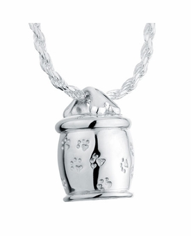 Bone Cookie Jar Sterling Silver Pet Cremation Jewelry Pendant Necklace