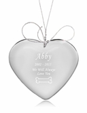Bone Heart Crystal Pet Memorial Ornament