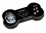 Photo Bone Laser-Engraved Pet Marker Black Granite Memorial