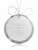 Bone Round Crystal Pet Memorial Ornament
