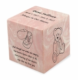 Booties Pink Small Cube Infant Cremation Urn - Engravable