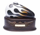 Born to Ride Motorcycle Gas Tank Cremation Urn, Charcoal - White