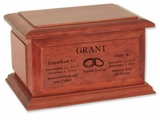 Boston II Walnut Finish Wood Companion Cremation Urn