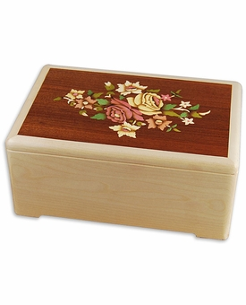 Bouquet 3D Inlay Maple Wood Octagon Cremation Urn