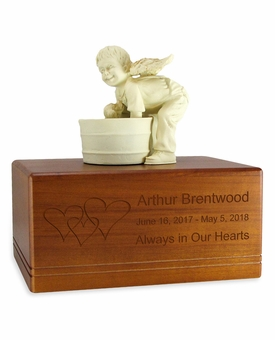 Boy Angel and Dog White Alabaster Finish Resin and Walnut Wood Infant Child Cremation Urn