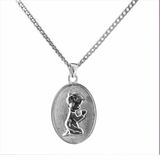 Boy Kneeling Sterling Silver Cremation Jewelry Necklace