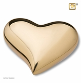 Bright Gold Heart Keepsake Cremation Urn