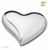 Bright Silver Heart Keepsake Cremation Urn