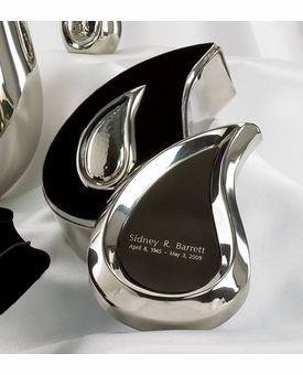 Bright Silver Tear Drop Ultra Keepsake Cremation Urn Set