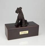 Bronze Airedale Dog Figurine -Simply Walnut- Pet Cremation Urn - 405